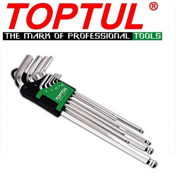Toptul 9PCS Extra Long Type Ball Point Hex Key Wrench Set GAAL0917