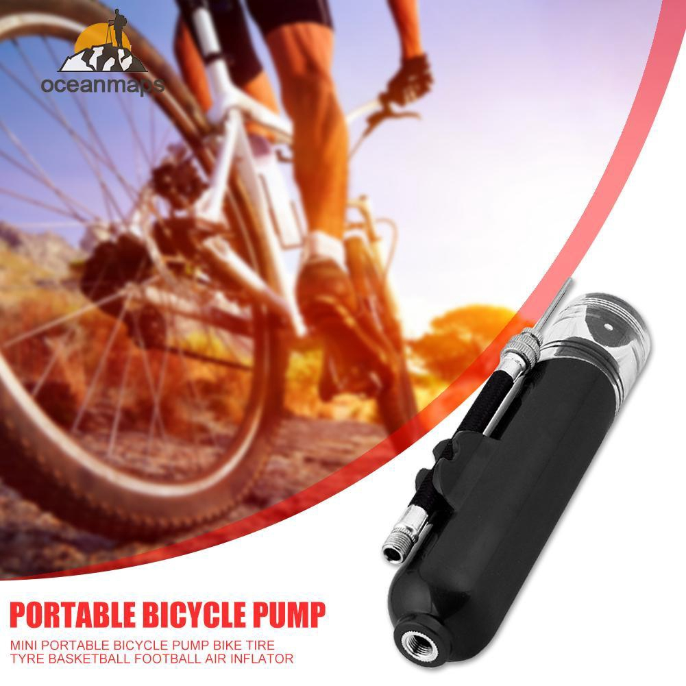 Aluminum Mini Portable Bike Bicycle Air Hand Pump Tire Tube Inflator Tyre Travel