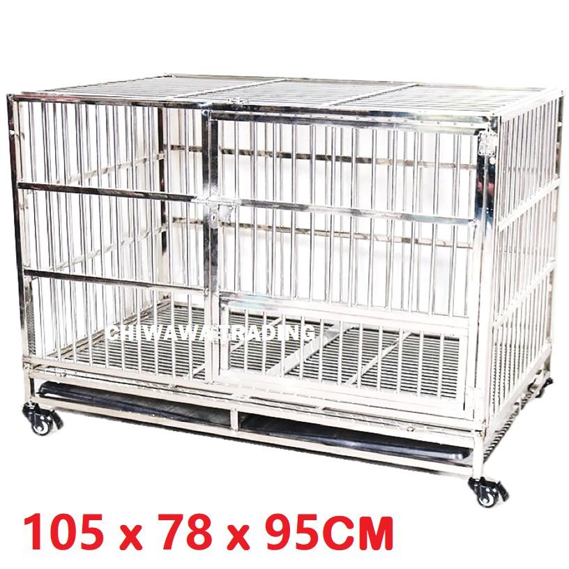 CGF1【105 x 78 x 95cm】 Stainless Steel Pet Dog Cat Rabbit Cage Crate House Home / Rumah Haiwan Anjing Kucing Sangkar
