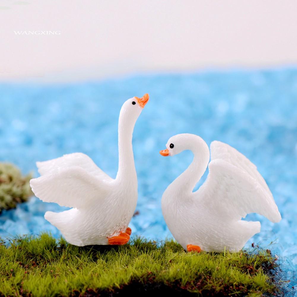 Set of 30 Miniature White Swan /& Yellow Duck Figurines Dollhouse Bonsai Crafts Fairy Garden Plant Pot Landscape Decor