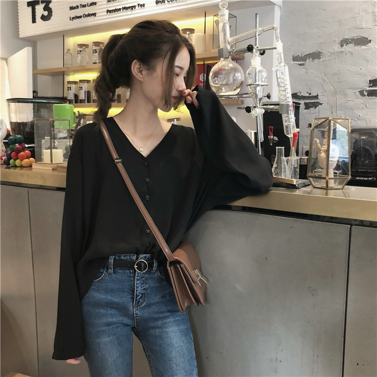 72867985082c8 【3 colors】Loose V-neck Chiffon Long Sleeve Shirt