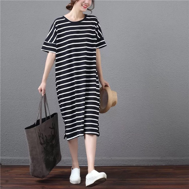 [Free Size]Plus Size Korean striped T-shirt dress 韩版大码条纹T恤连衣裙