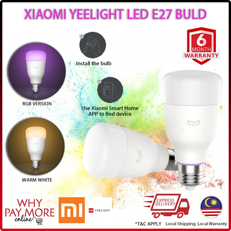 Xiaomi Yeelight Smart LED Bulb E27 Warm RGB 2018 Lamp WiFi Remote Control