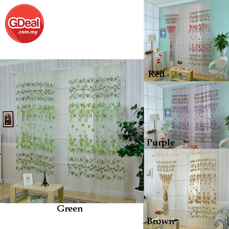 GDeal Big Flower Offset Screen Window Printed Curtain Living Room Home Decor Sheer Curtains Langsir (100 X 200CM)
