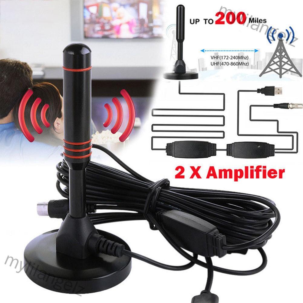 Mylilangelz Indoor Digital HDTV TV Antenna Aerial Amplified 200 Mile Range VHF UHF Freeview