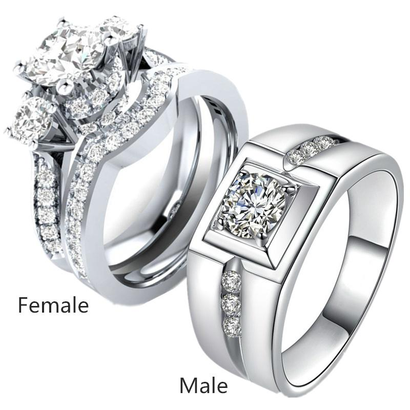 Couple Rings White Gold Filled 925 Sterling Silver Mens Ring Zirconia Women S Wedding Ring Sets