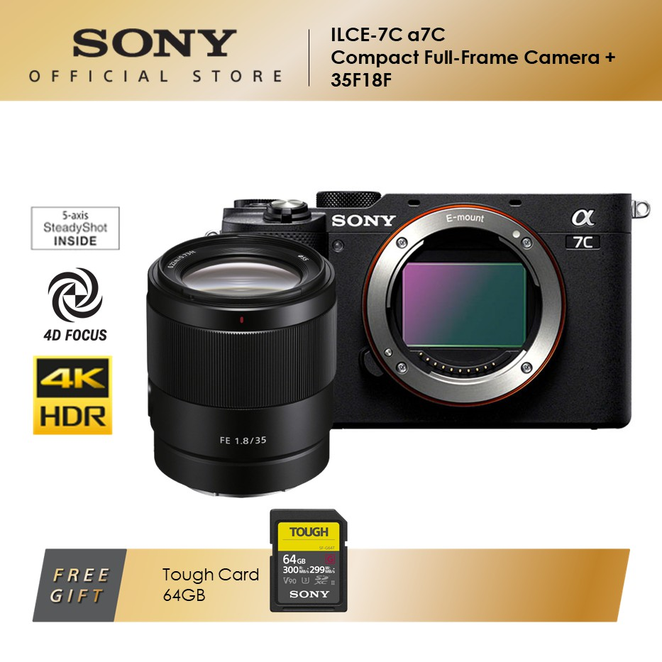 Sony ILCE-7C Compact Full-Frame Camera + SEL35F18G Lens