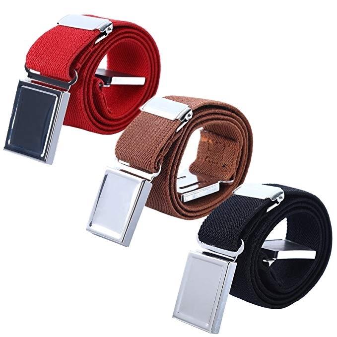 Fashion Kid Boy Girl Polyester Pants Belt Adjustable Stretch Magnet Buckle Belts