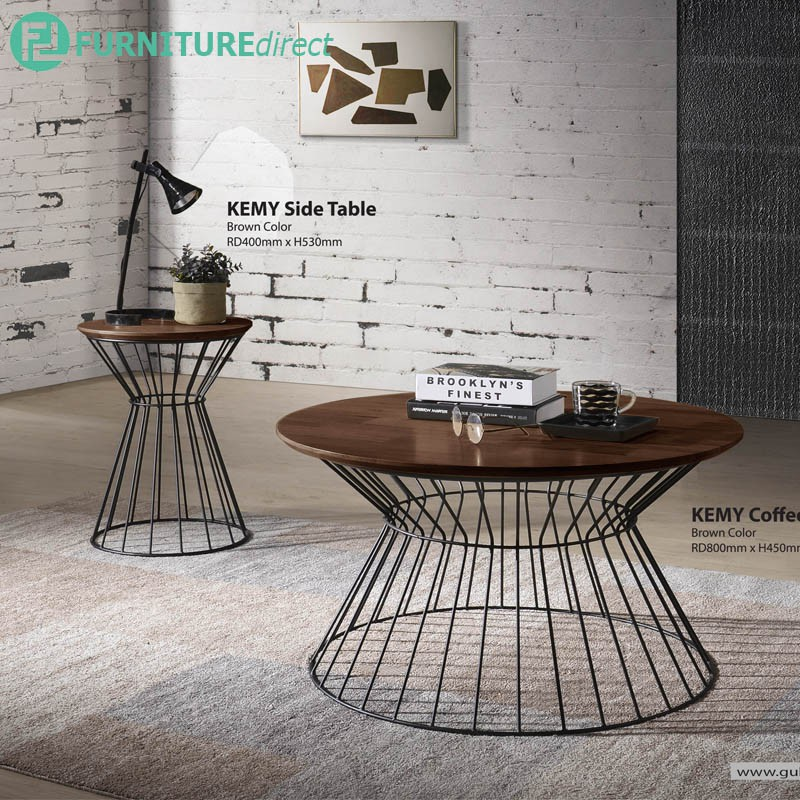 KEMY solid rubberwood top occasional tables/ coffee table/ side table