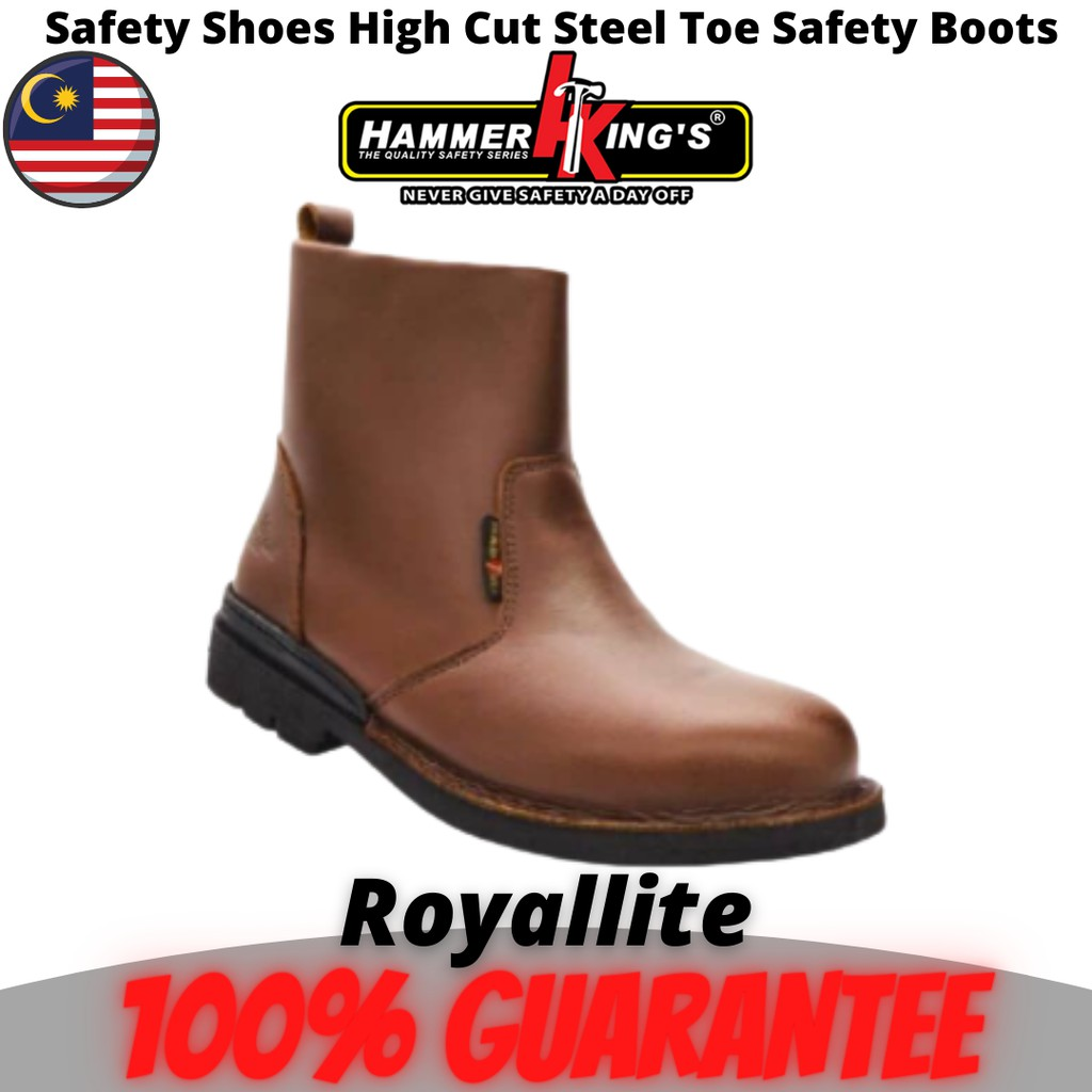 Hammer King's Safety Shoes High Cut Outdoor / Quality System SIRIM ,Kasut Kerja (13006) Brown