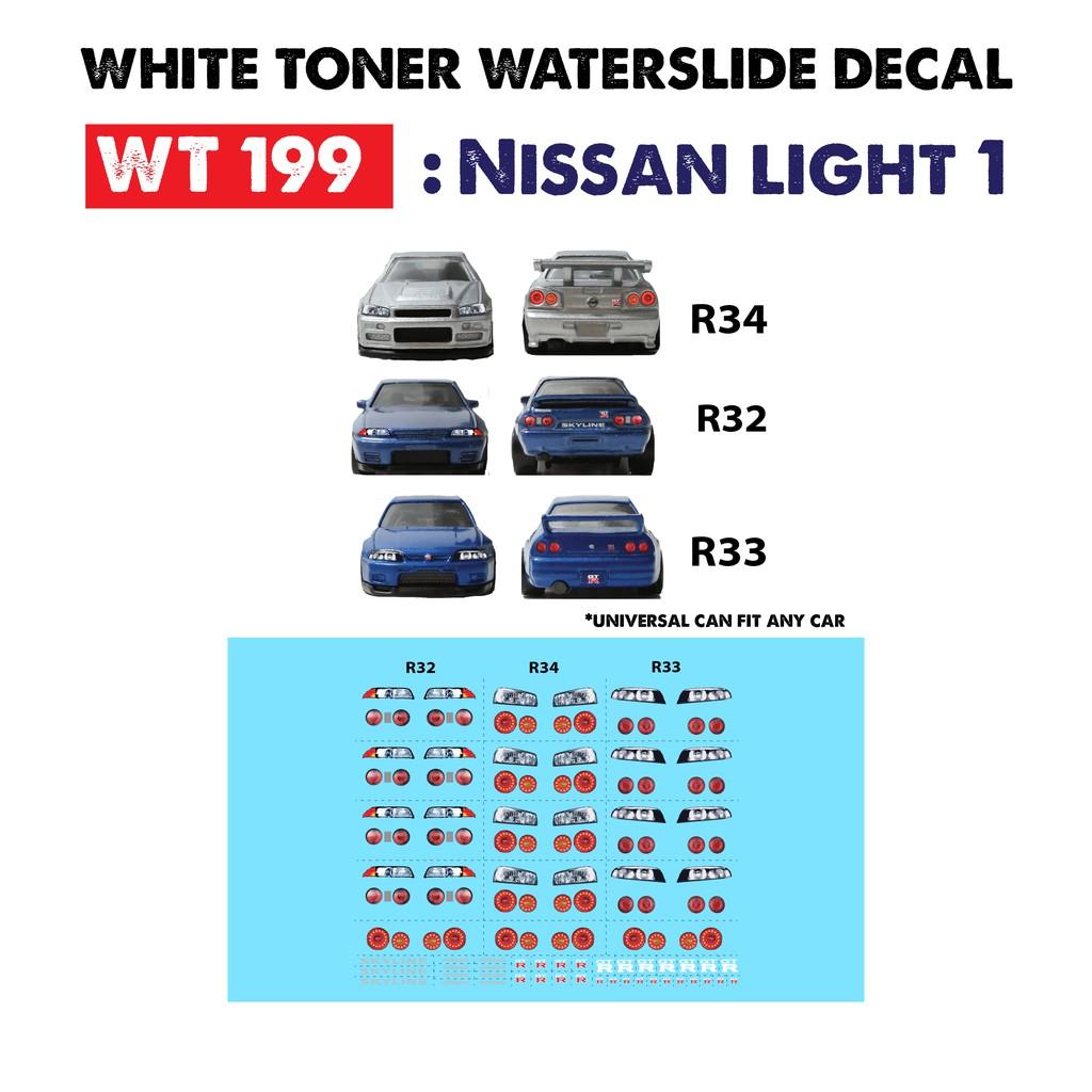 WT200 White Toner Waterslide Decals /> HONDA LIGHT 1 />For Custom 1:64 Hot Wheels