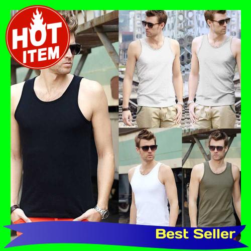Fashion Men Tank Tops Round Neck Sleeveless Sports Causal Vests Dark Grey (Gyl)