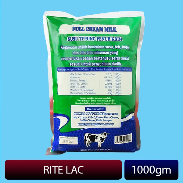 RITE LAC L50 Full Cream Milk Powder (1000gm) - Pillow Pack