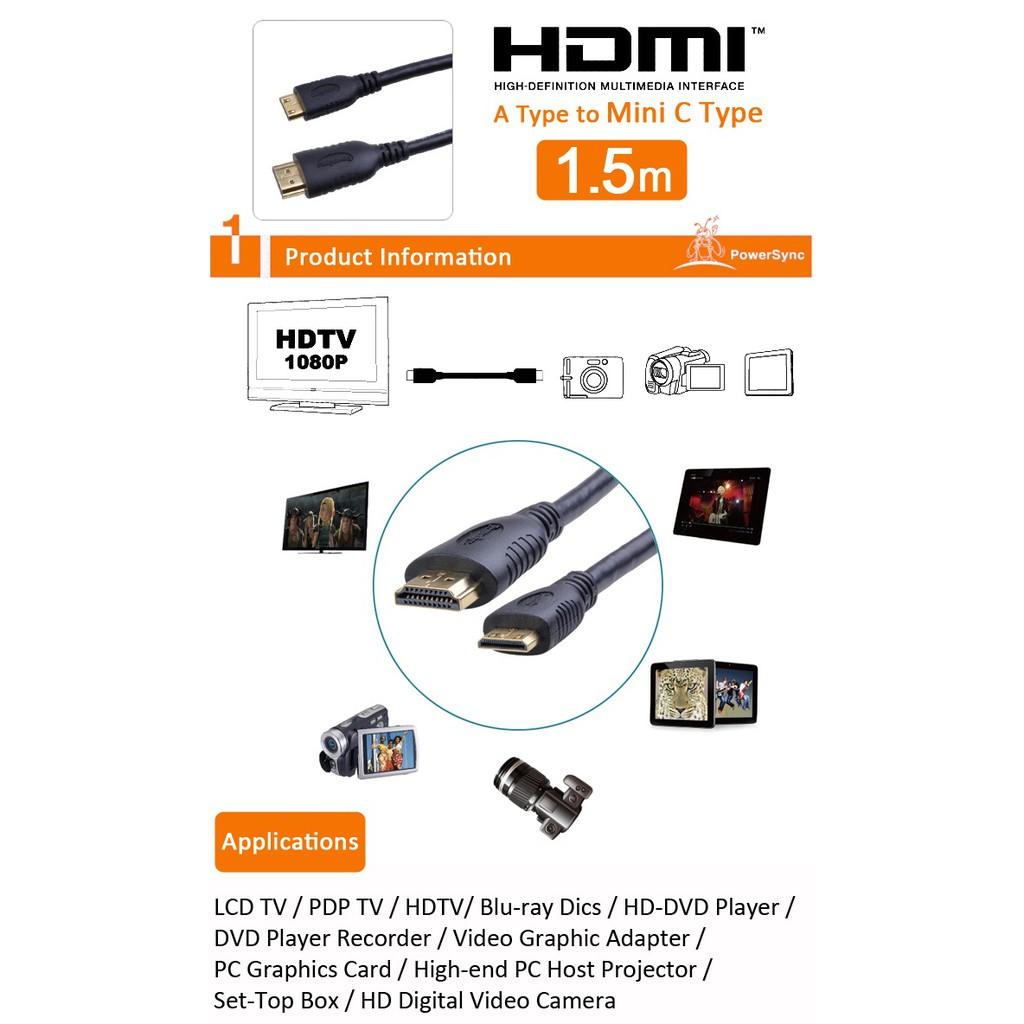 Powersync Mini HDMI A Type to Mini C Type (1.5Meter)