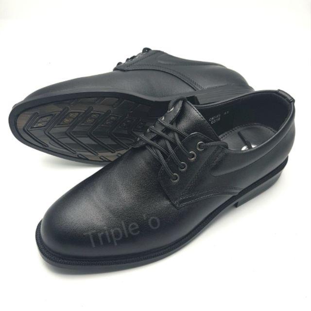 รองเท้าหนังผูกเชือก 4 รู สีดำ CSB 545 ไซส์