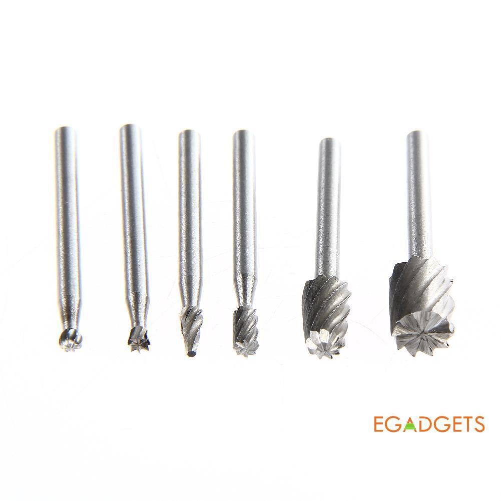 6PCS Mini Alloy Rotary Drill Tool Bit Kit Cutting Wood Carving Electric Grinder