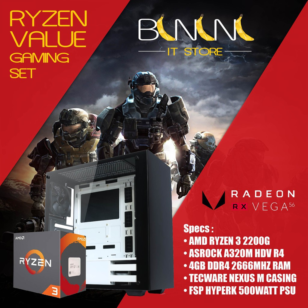 Value Gaming Desktop AMD RYZEN 3 2200g / 4GB RAM / VEGA 8 GPU / 120GB SSD