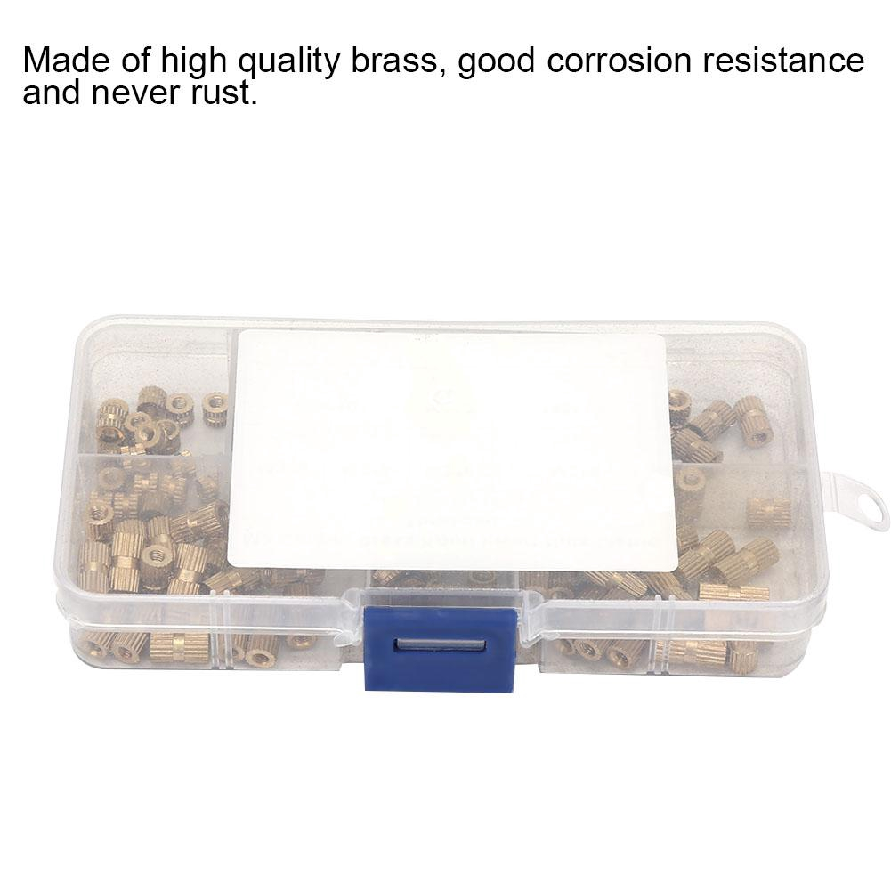 150Pcs M3 Brass Insert Nut,Knurl Insert Nuts Kits,Threaded Assortment Set with Plastic Box,Corrosion,Durable,for Machinery Industry.