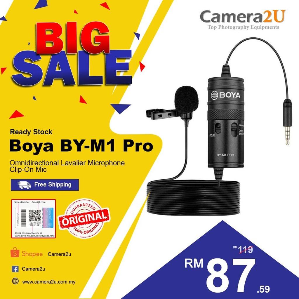 READY STOCK Original Boya BY-M1 Pro BYM1 Pro Omnidirectional Lavalier Microphone Clip-on Mic