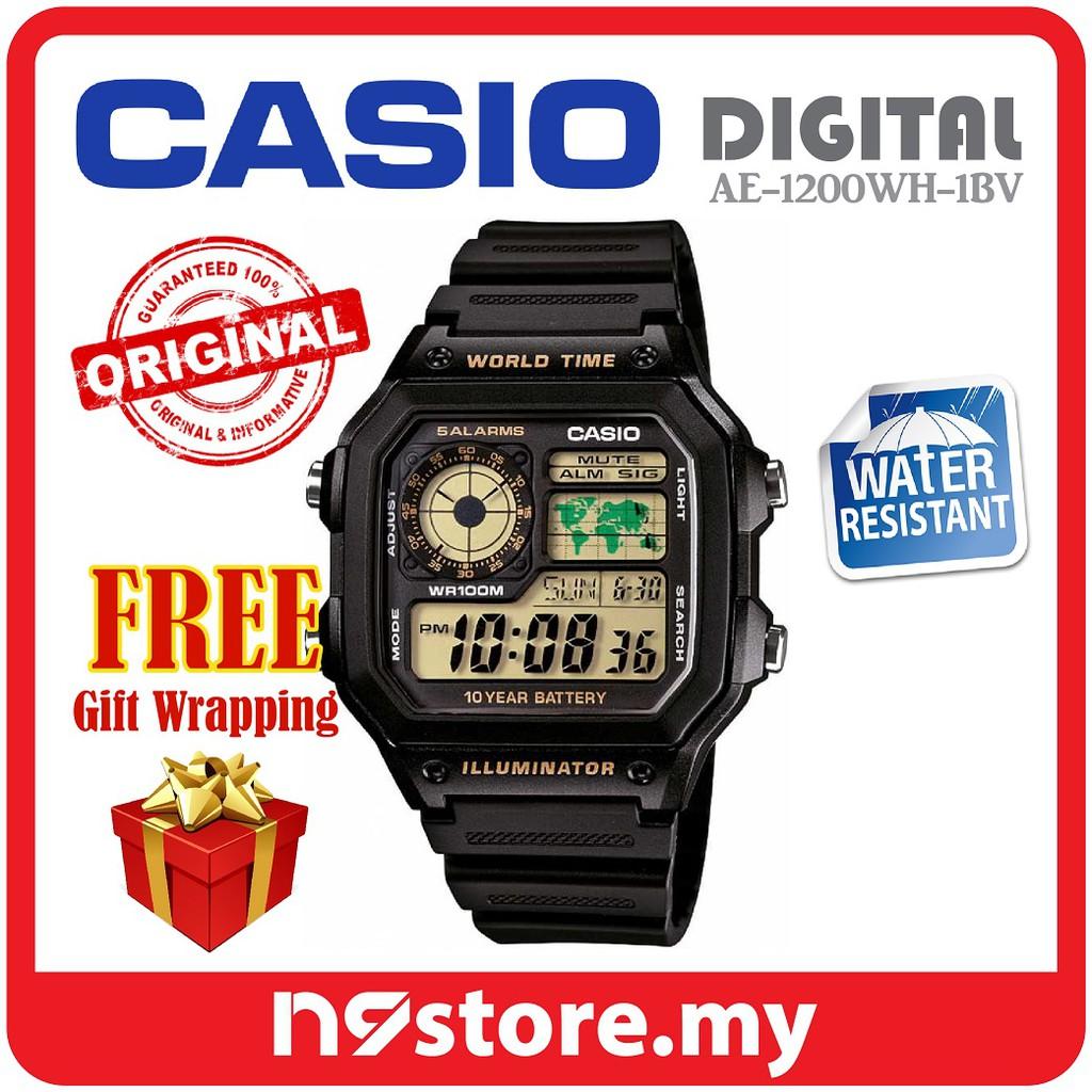 Casio AE-1200WH-1AV Digital Men Illuminator Watches Sports Casual Jam  Original  5c05448868
