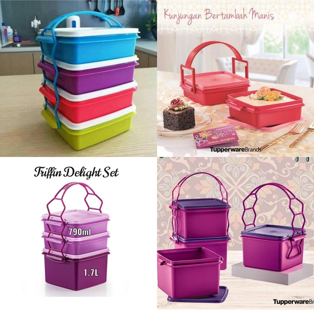 Tupperware Small goody box with cariolier / Triffin / Double Deep 790ml / 1.7L (Loose) Tapao / Lunchbox