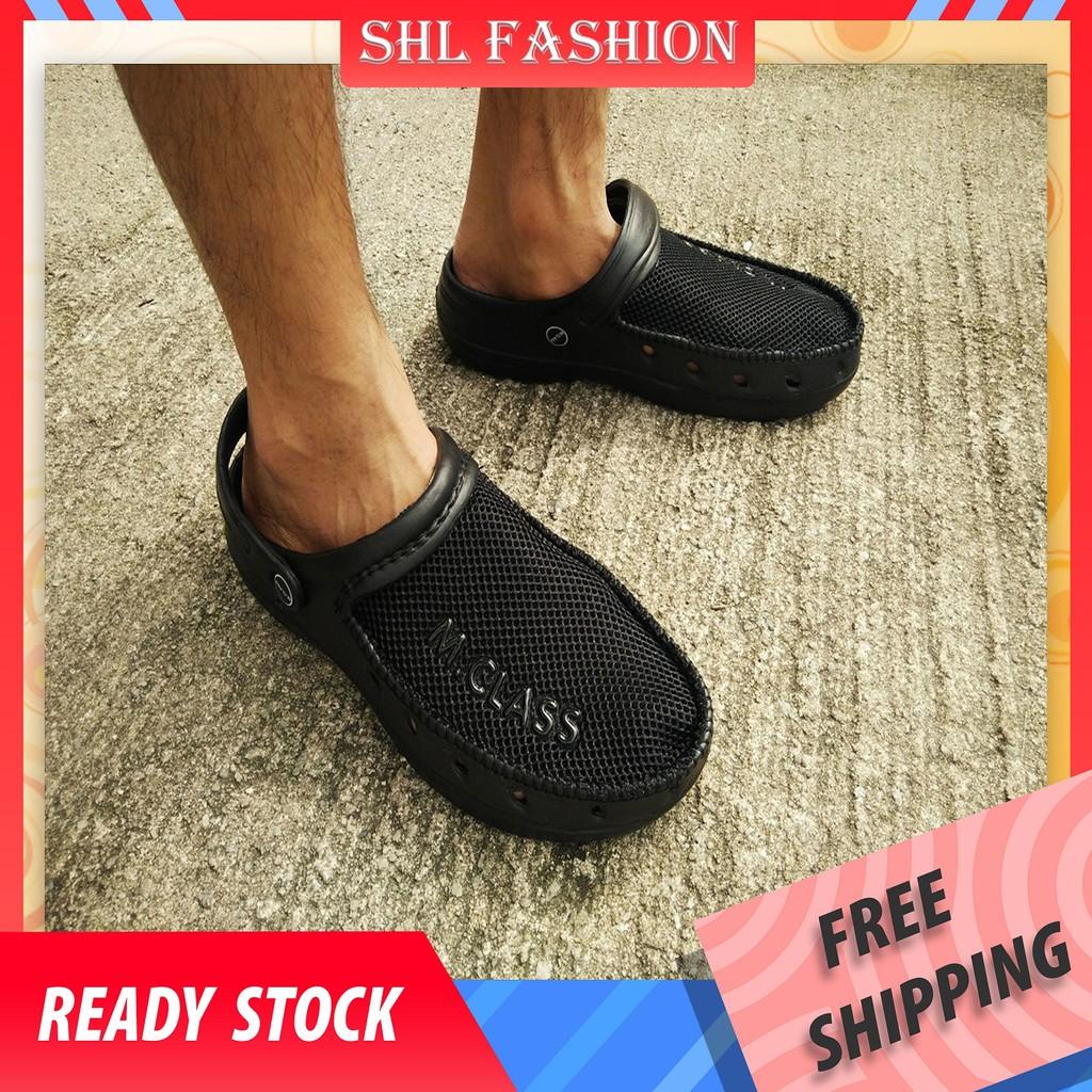 SHL M-CLASS Men Crocs Clogs Selipar Kasut Lelaki Sandal size 40-45(Black)【大头鞋】9973