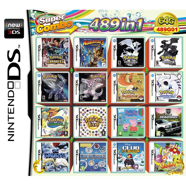 489 in 1 Game Cartridge Multi Game Card for NDS NDSL NDSi 3DS 2DS LL/XL New