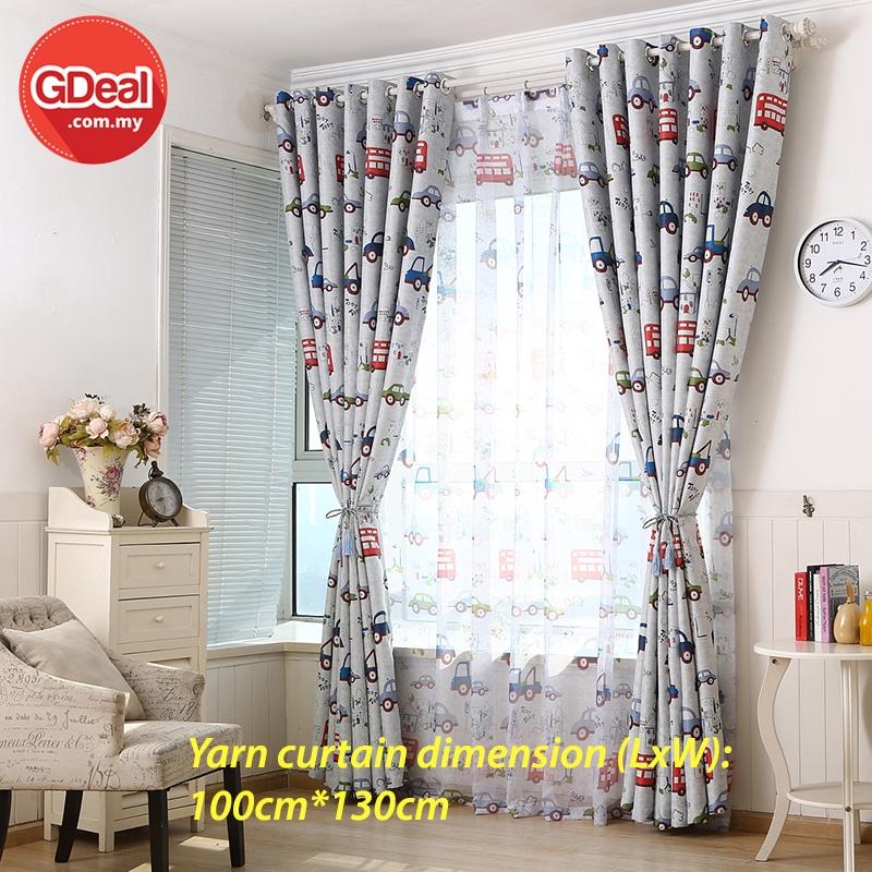 GDeal 1pcs Transparent Curtains Home Bedroom Punching Short Design Cartoon Car Voile Curtain Langsir 100cm x 130cm
