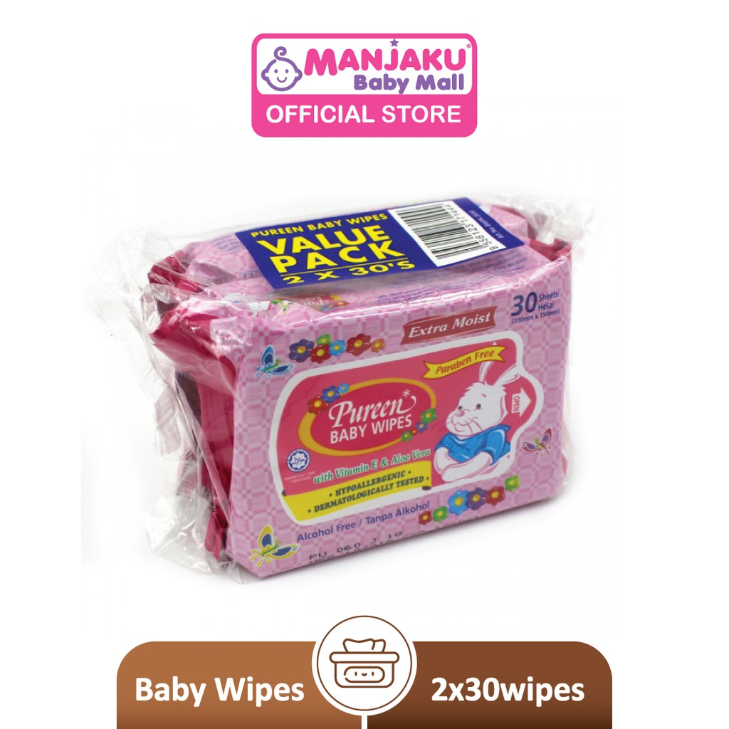 Pureen Baby Wipes - Pink (2 x 30's)