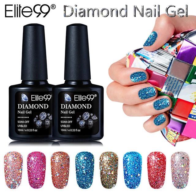 Elite99 10ML Diamond Nail Gel Glitter LED UV Manicure Shiny Sequins ...