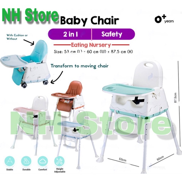 2 In 1 Multipurpose Chair Booster Seat Dinning with weels <NH store