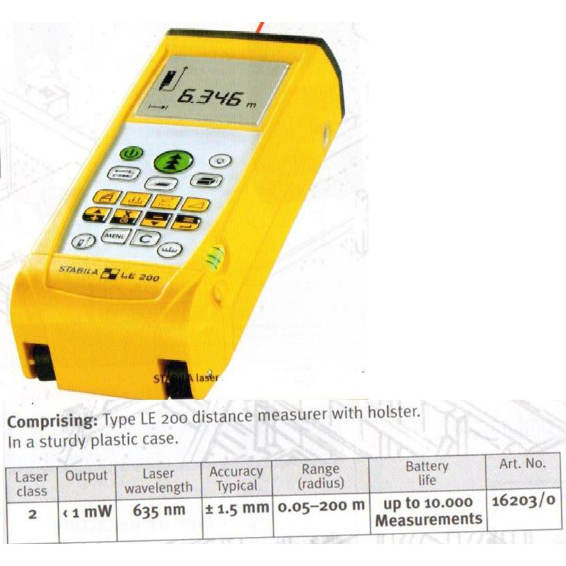LE200 200M STABILA LASER DISTANCE MEASURER MEASUREMENT MEASURING