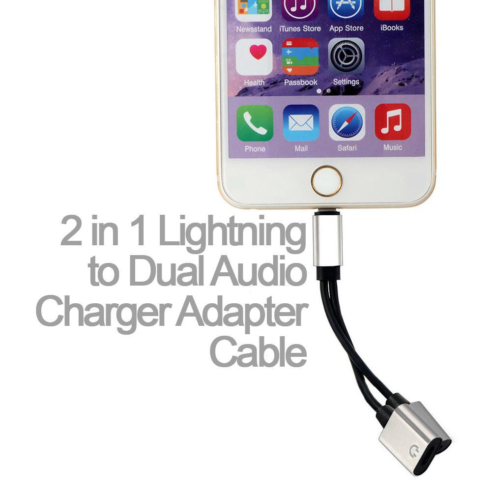 Dafi Lightning to Dual Audio Charger Adapter Cable - iPhone 7/7 Plus (2 in  1)