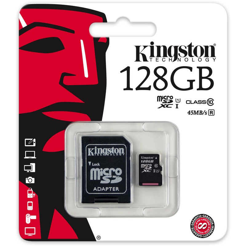 Kingston Digital 128GB microSDXC Class 10 UHS-I 45MB/s Read Card with SD Adapter #ORIGINAL MY#