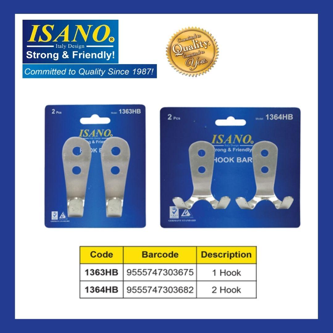 ISANO 2Pcs Stainless Steel Single Hook Bar 1363HB / Twin Hook Bar 1364HB