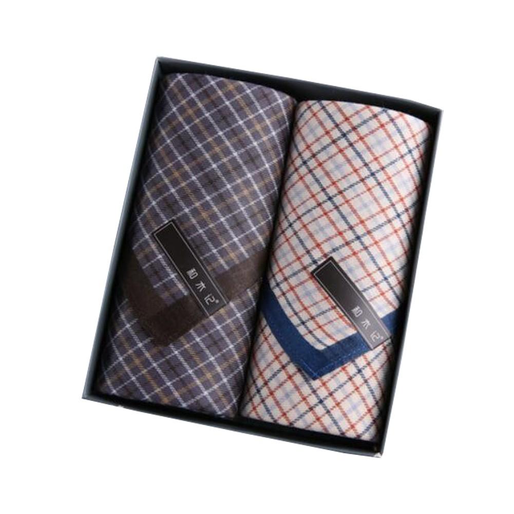 Set of 2 Mens Soft Handkerchiefs 100/% Cotton Classic Gentleman Pocket Square Handkerchief A03