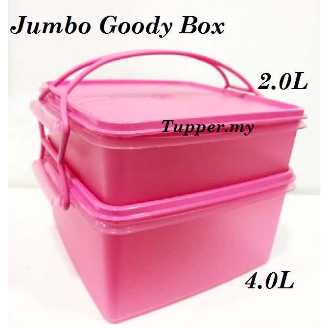 [Ready Stock]Tupperware Jumbo Goody Box 2l & 4L with Cariolier Pink