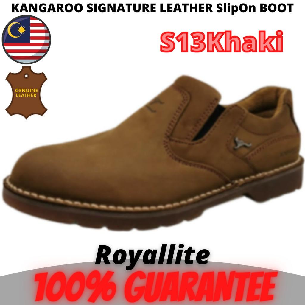 KANGAROO SIGNATURE LEATHER BOOT SHOE (8379) S13Khaki & S15Camel