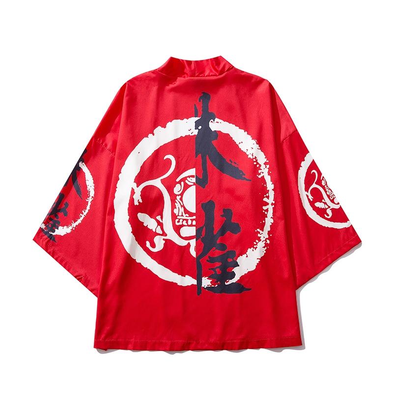 Big Plus Size Loose Women Men Red Black Japanese Harajuku Robes Kimono Blouse Blazer Cardigans Jacket