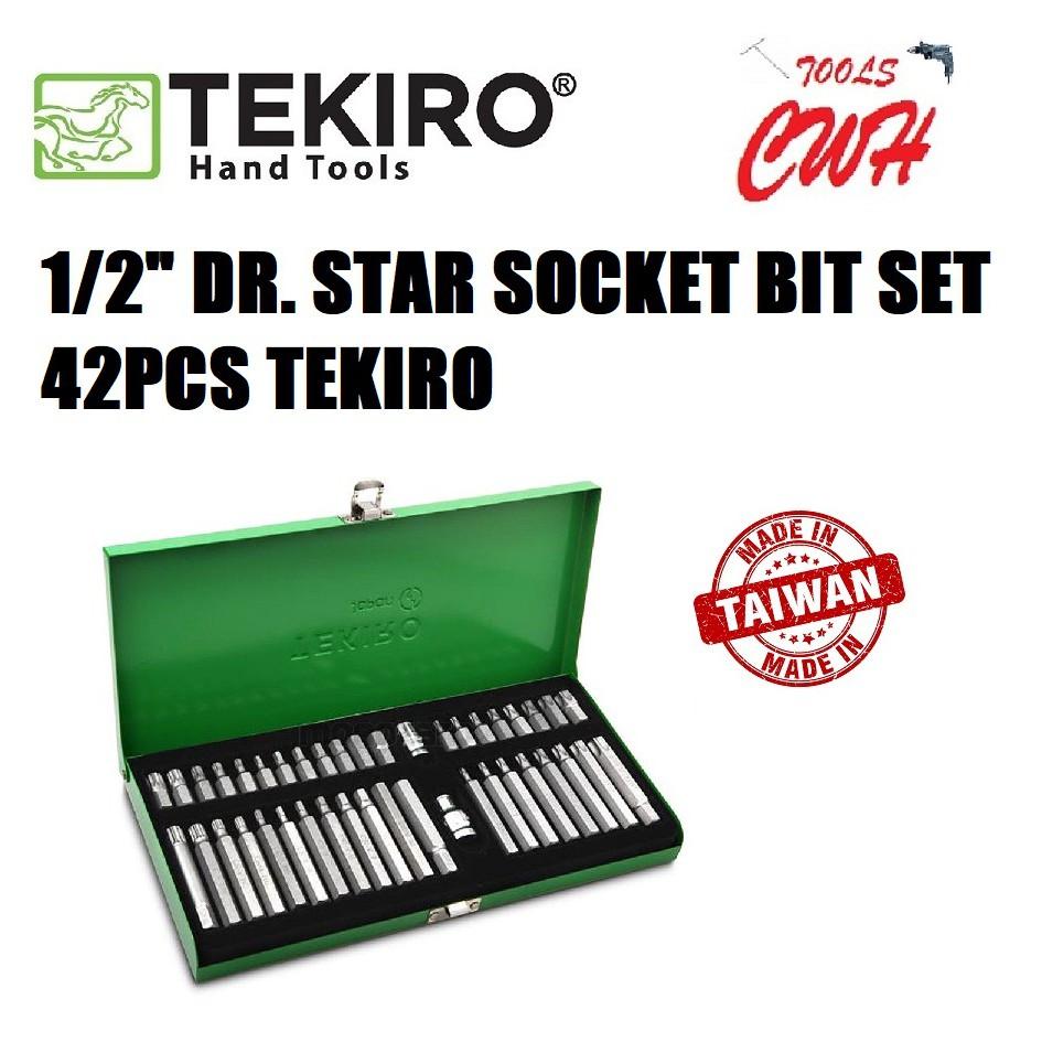"""TEKIRO TAIWAN SC-BS0635 1/2"""" DR. STAR SOCKET BIT SET  42PCS TEKIRO MADE IN TAIWAN DR. STAR SOCKET BIT SET"""