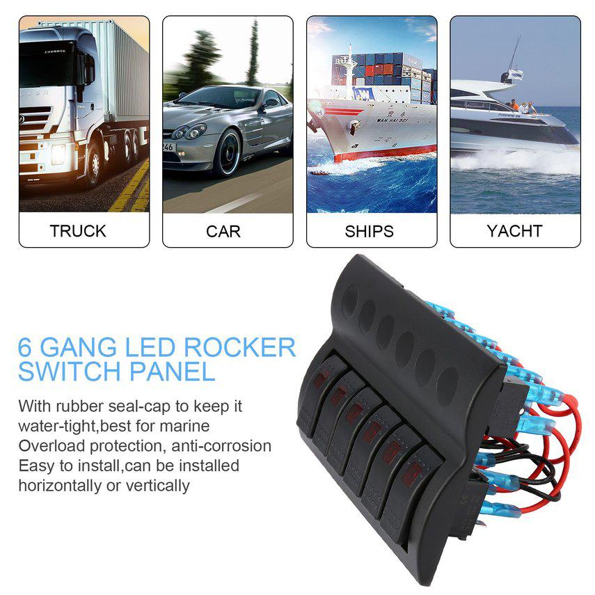 6 Gang Waterproof RV Car Marine Boat Circuit Breaker LED Rocker Switch Panel