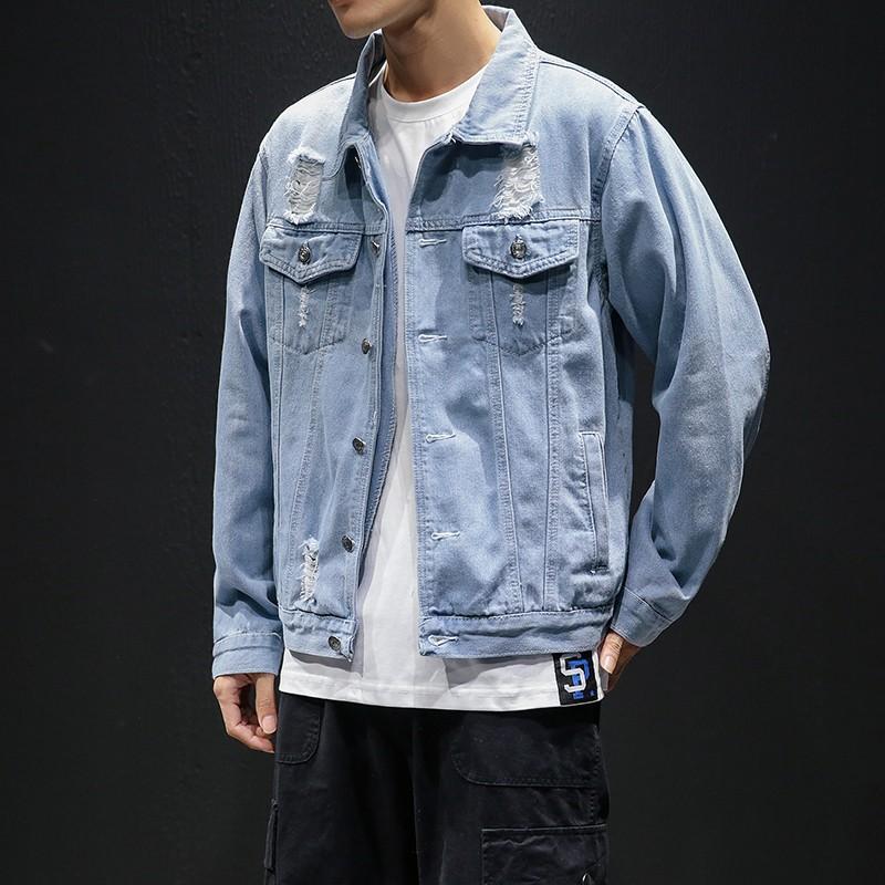 2019 Hole Denim Jacket Boys Autumn Korean Fashion Handsome Men Denim Jacket