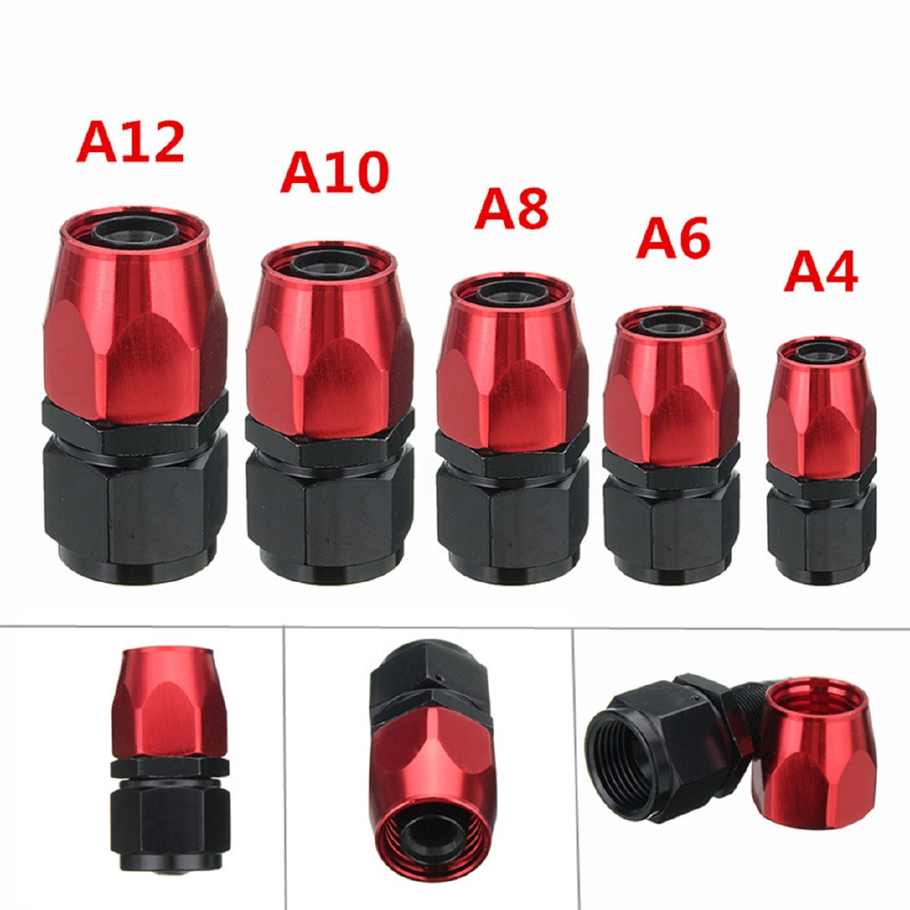 AN6 Fitting Straight Swivel Fuel Line Hose End Fitting Adaptors 6AN  Black Red
