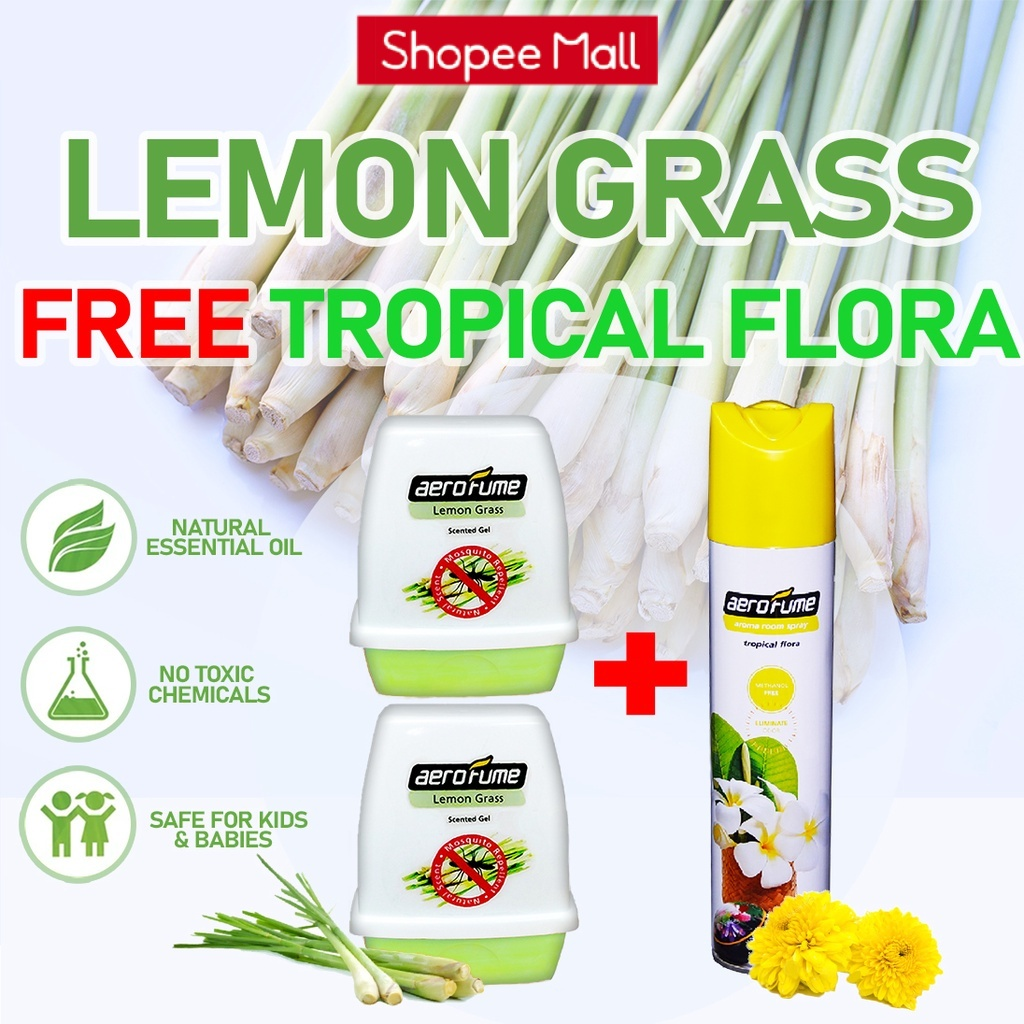 Tropical Flora Aroma Spray (1 Pcs) + Lemon Grass Scented Gel (2 Pcs) [Bundle] Fragrance
