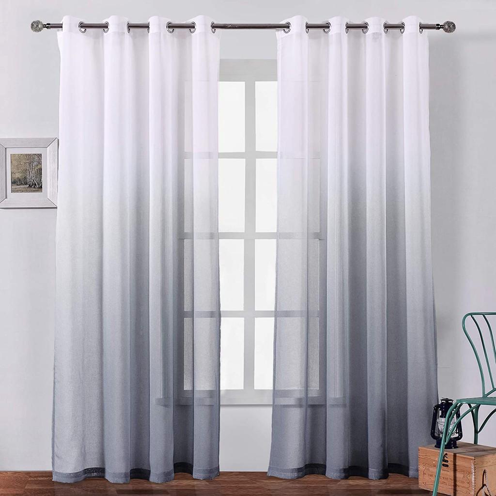 Modern Voile Curtain Blue Gradient Color Design Tulle Curtain Living Room Sliding Door Gray Sheer Curtain Drape Home Decor Shopee Malaysia