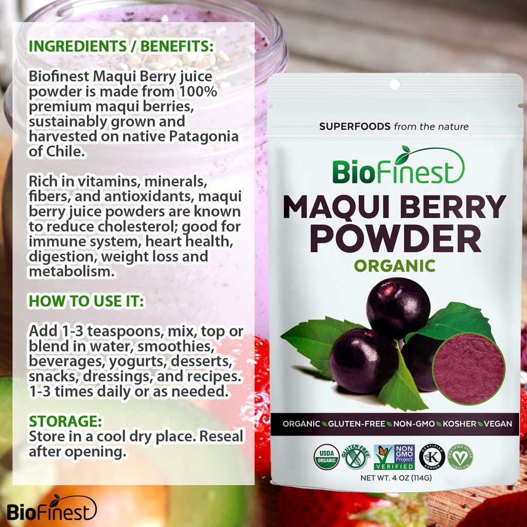 Biofinest Maqui Berry Juice Powder 100 Pure And Organic