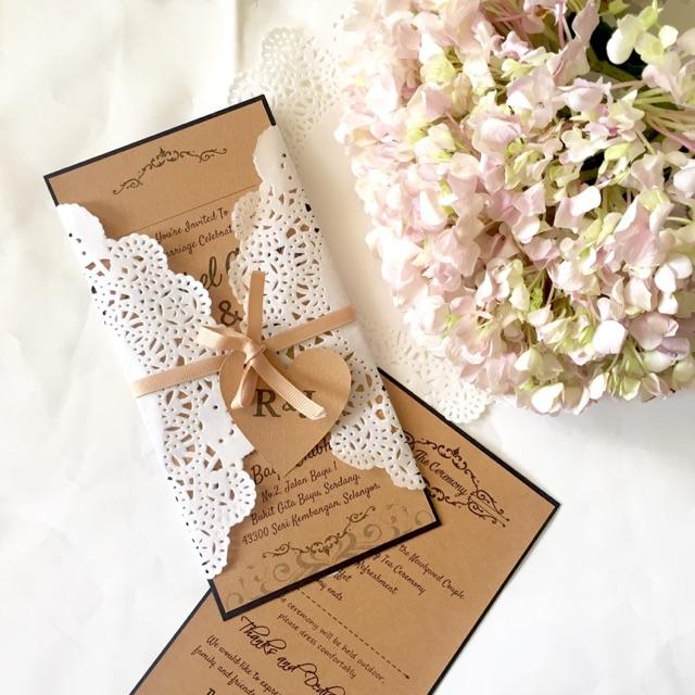 kraft card weddinginvitation card with doily paper