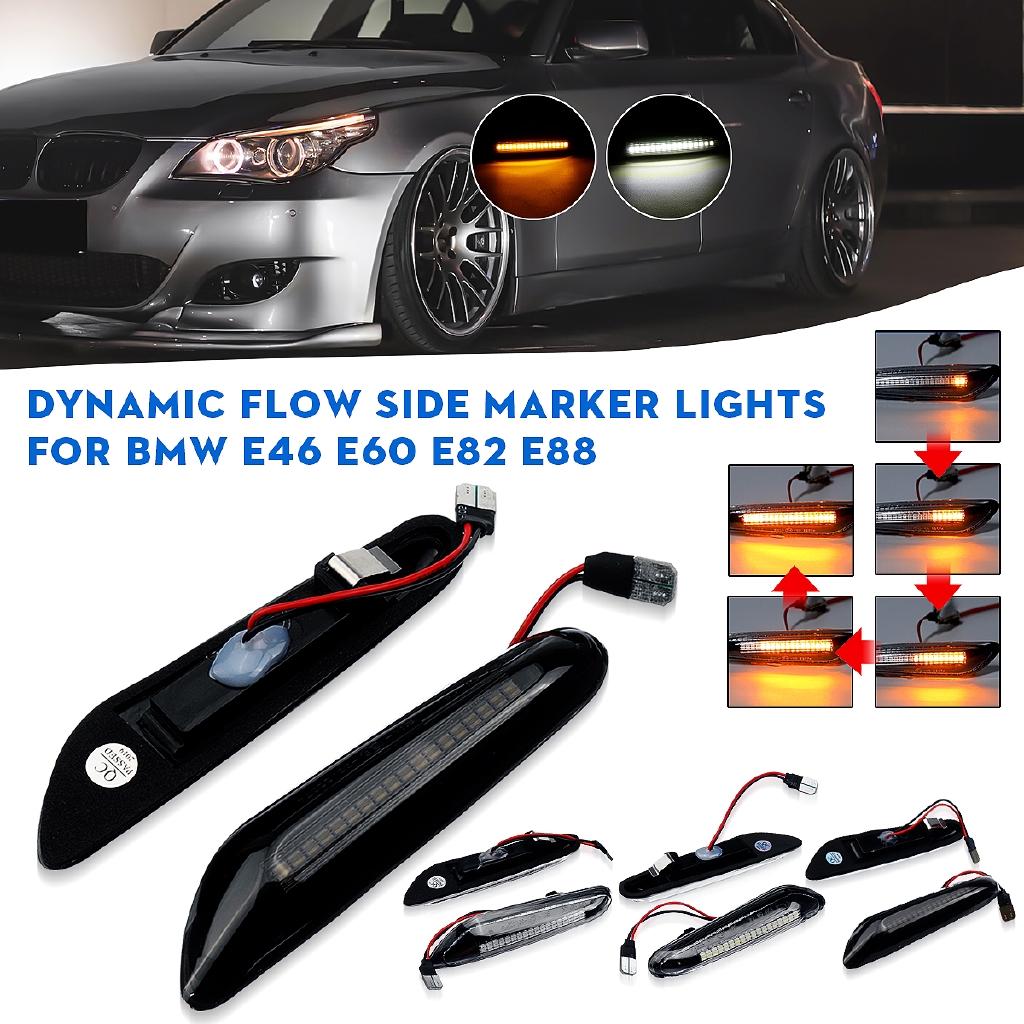 Pair Dynamic Flowing LED Side Marker Indicator Light For BMW E46 E60 E82 E92 E93