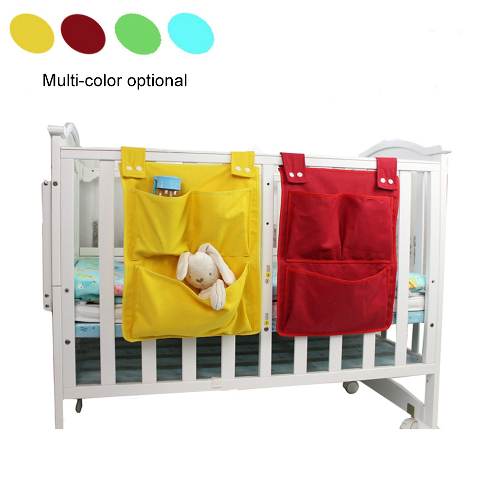Kids Baby Canvas Crib Hanging Bag Multi Layer Diaper Storage Bags