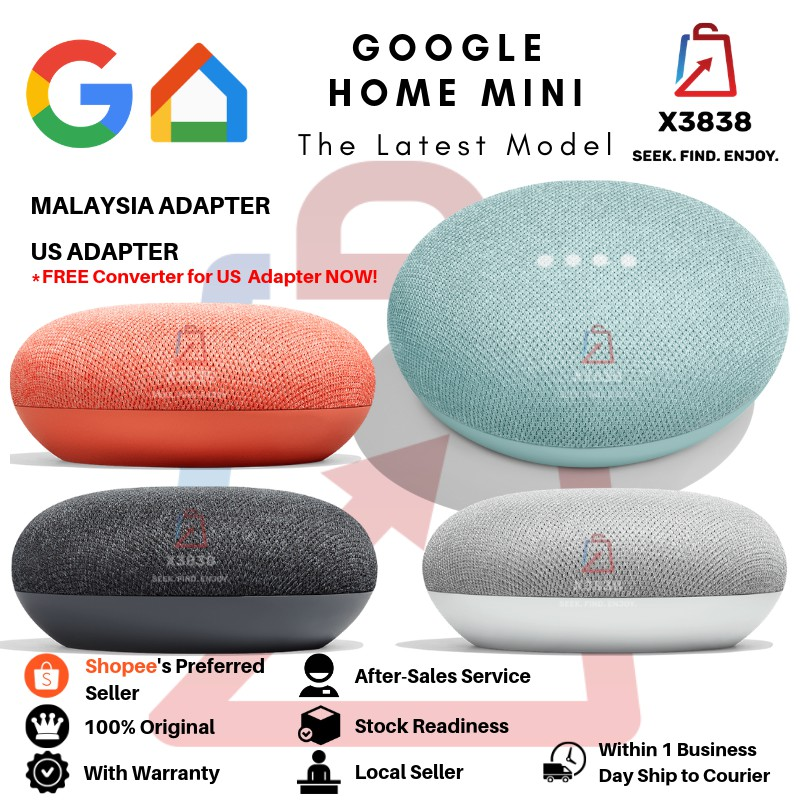 Genuine Google Home Mini Smart Speaker & Home Assistant With Warranty  (Malaysia/ US Adapter)
